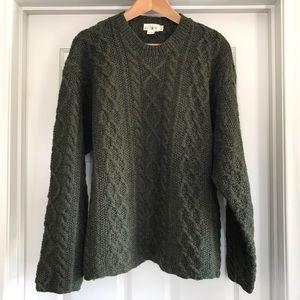 J.Crew 100% Wool Cable Knit Fisherman's Sweater L